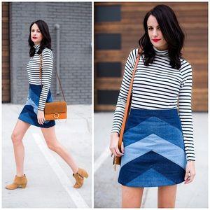 ASOS Mini A-Line Skirt Patchwork Chevron Denim
